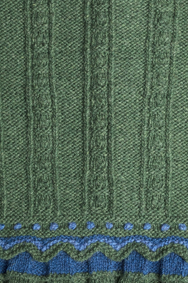 Detail of the Mary Queen of Scots knitwear design from Tudor Roses by Alice Starmore in pure wool Hebridean 3 & 2 Ply hand knitting yarn