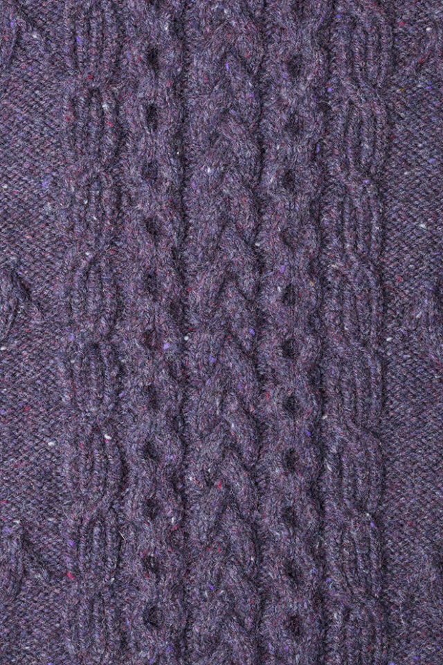 Detail of the Mystic knitwear design patterncard kit by Alice Starmore in pure wool Hebridean 3 Ply knitting yarn