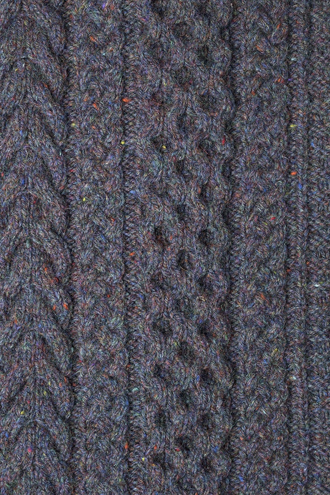 Detail of the Na Craga knitwear design from Aran Knitting by Alice Starmore in pure wool Hebridean 3 Ply hand knitting yarn