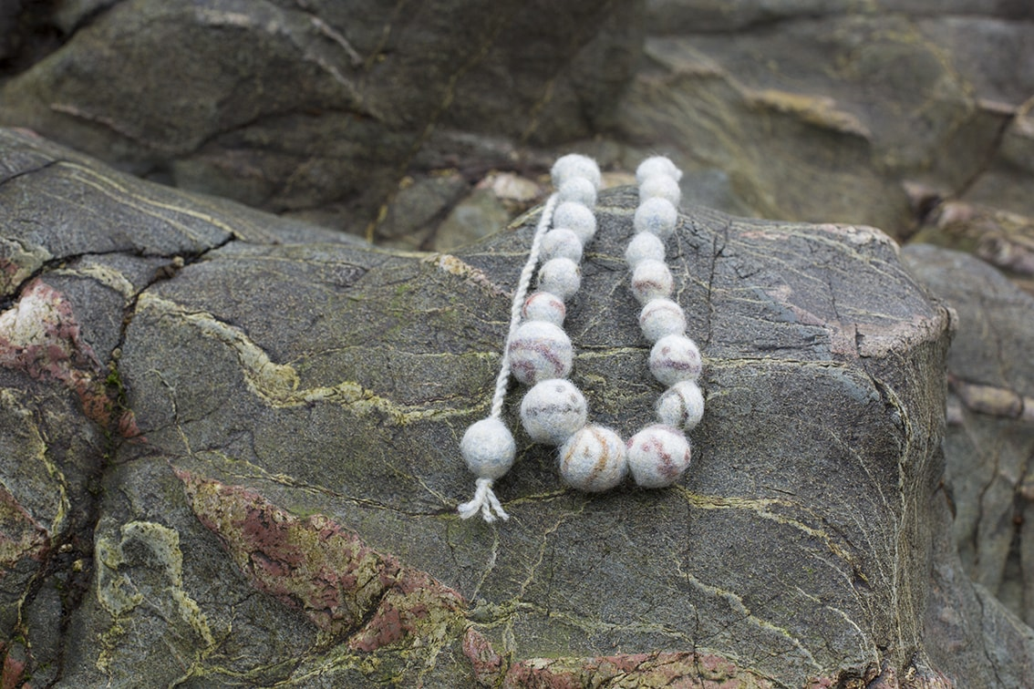 Felted quartz necklace designed by Alice Starmore
