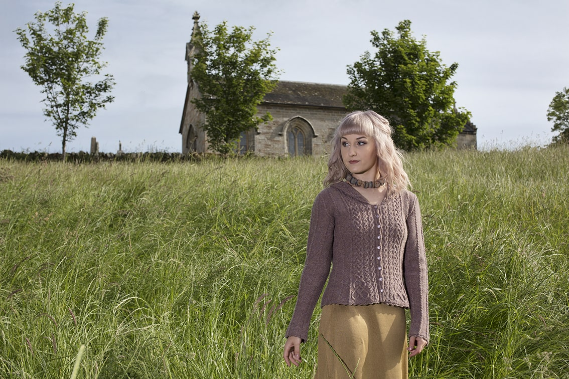 Eala Bhan knitwear design from Aran Knitting by Alice Starmore in pure wool Hebridean 2 Ply hand knitting yarn
