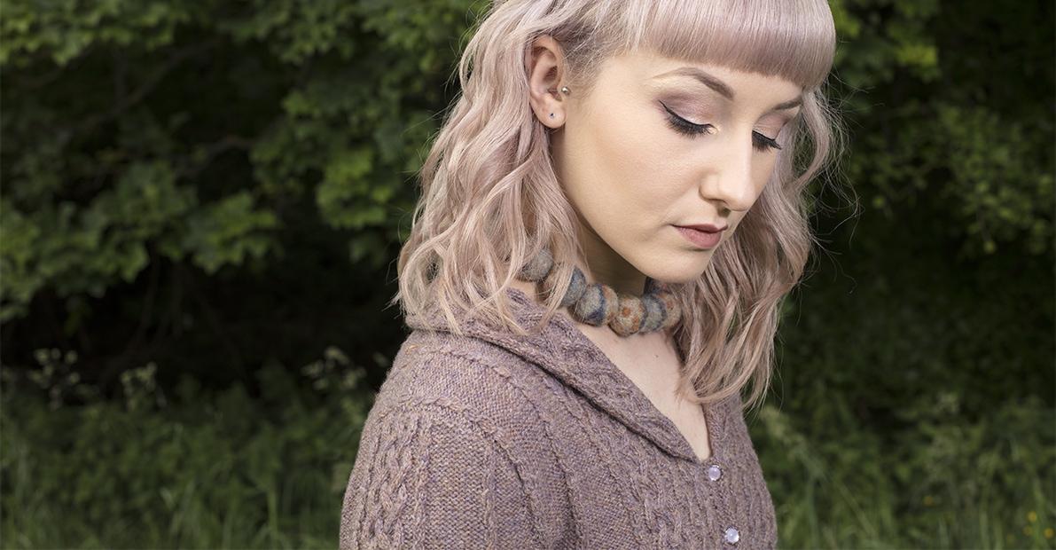 Eala Bhan knitwear design from Aran Knitting by Alice Starmore in pure wool Hebridean 2 Ply hand knitting yarn
