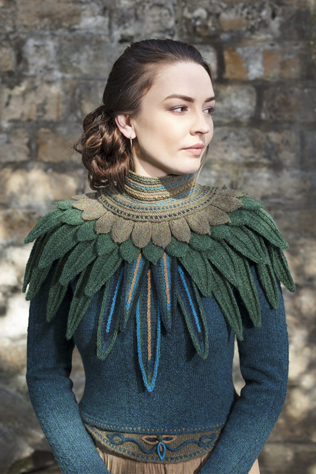 Lapwing Collar patterncard knitwear design by Alice Starmore in pure wool Hebridean hand knitting yarn