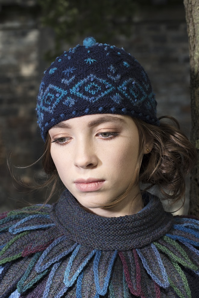 Mountain Hare Hat knitwear design from Glamourie by Alice Starmore in Hebridean 2 Ply hand knitting yarn