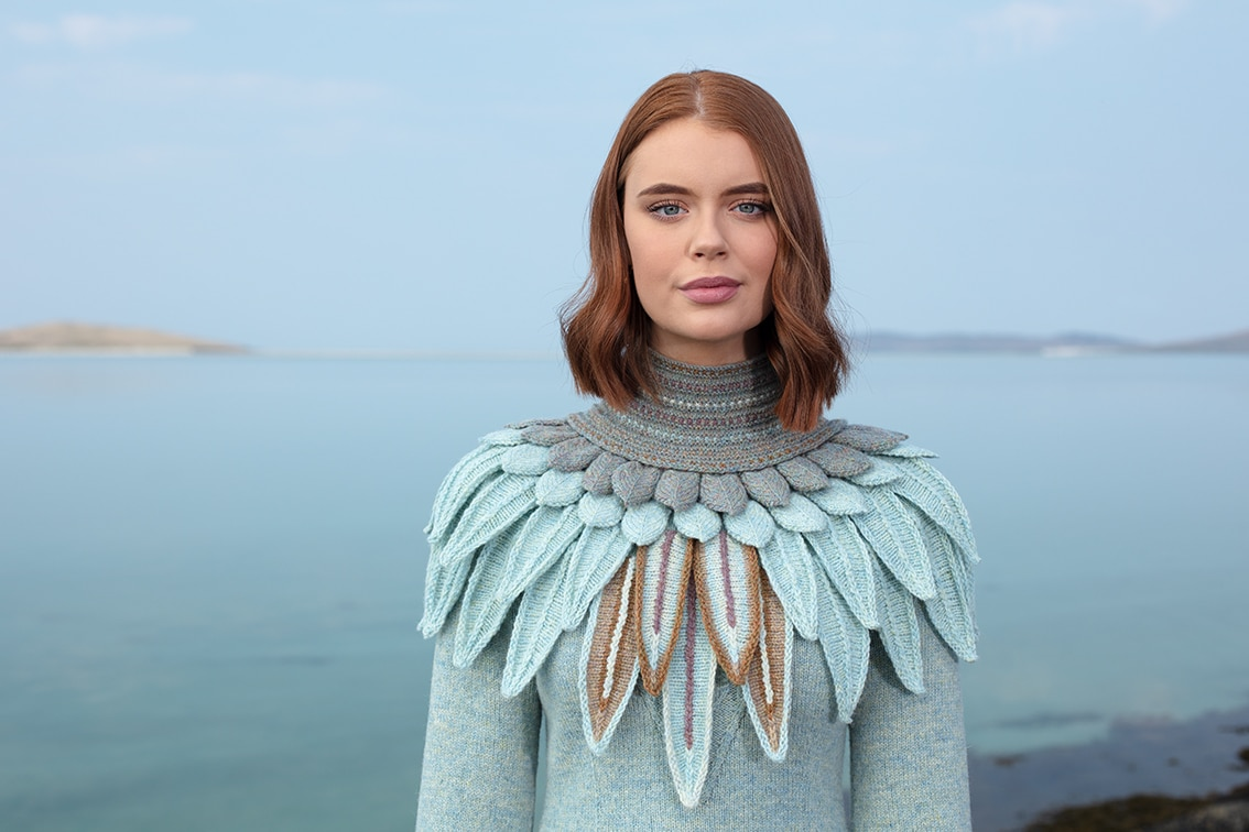 Lapwing Collar patterncard knitwear design by Alice Starmore in pure wool Hebridean 2 Ply hand knitting yarn