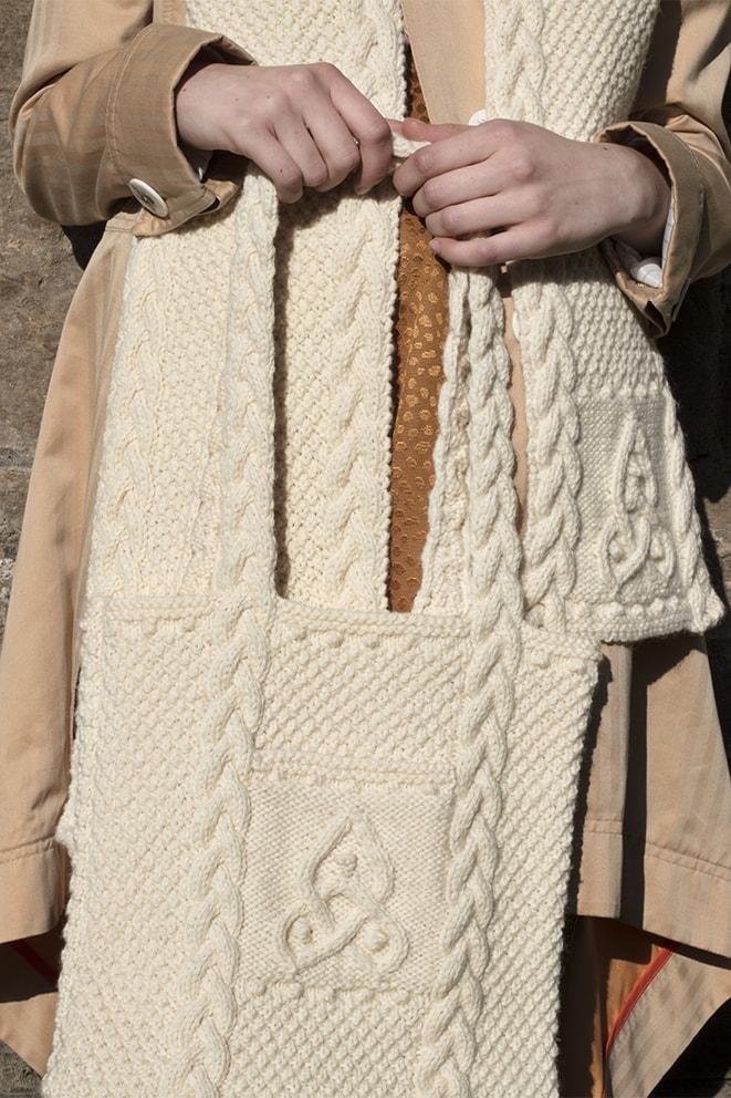 Triskel patterncard knitwear design by Alice Starmore in pure wool Bainin hand knitting yarn