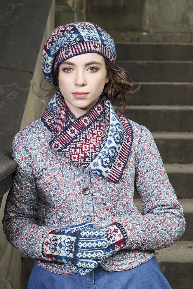 Diamond Jubilee Hat Set patterncard knitwear design by Alice Starmore in pure wool Hebridean 2 Ply hand knitting yarn