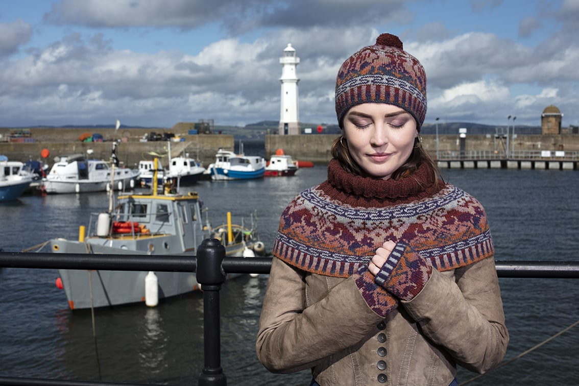 Hawk & Hound Hat Set patterncard knitwear design by Jade Starmore in pure wool Hebridean 2 Ply hand knitting yarn