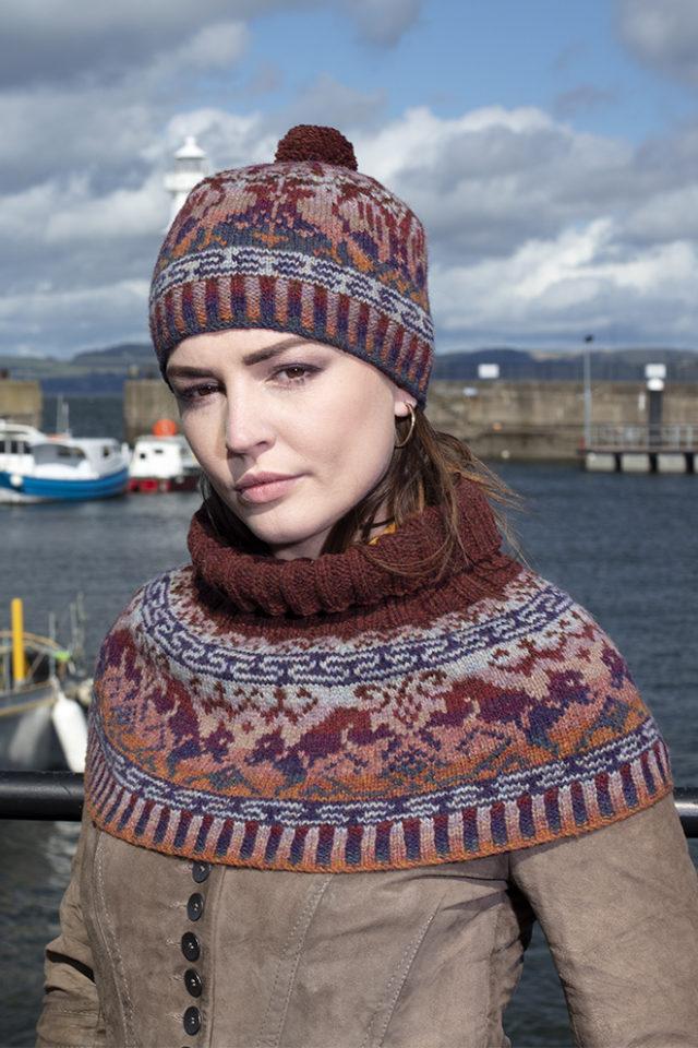 Hawk & Hound Hat Set patterncard knitwear design by Jade Starmore in pure wool Hebridean 2 Ply hand knitting yarn
