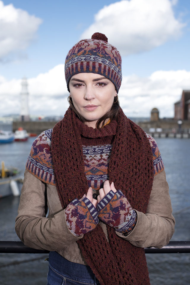 Hawk & Hound Hat Set patterncard kit by Jade Starmore and Driftnet Scarf patterncard kit by Alice Starmore in pure wool Hebridean 2 Ply hand knitting yarn