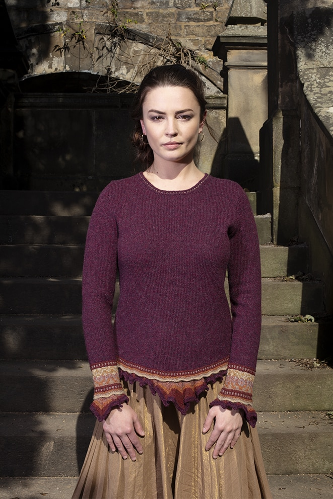 Herald Sweater patterncard knitwear design by Alice Starmore in pure wool Hebridean 2 Ply hand knitting yarn