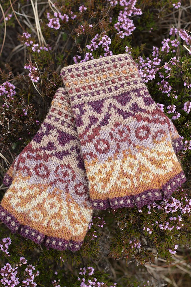 Herald Accessory Set patterncard knitwear design by Alice Starmore in pure wool Hebridean 2 Ply hand knitting yarn