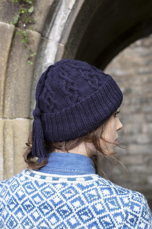 Kittiwake Hat design from Aran Knitting by Alice Starmore in Scottish Fleet pure British wool hand knitting yarn