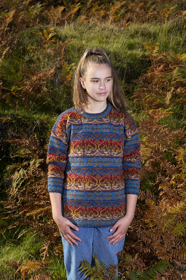 Leo Pullover patterncard knitwear design by Jade Starmore in pure wool Hebridean 2 Ply hand knitting yarn