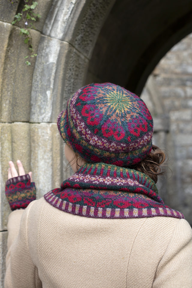 Maud Hat Set patterncard knitwear design by Alice Starmore in pure wool Hebridean 2 Ply hand knitting yarn