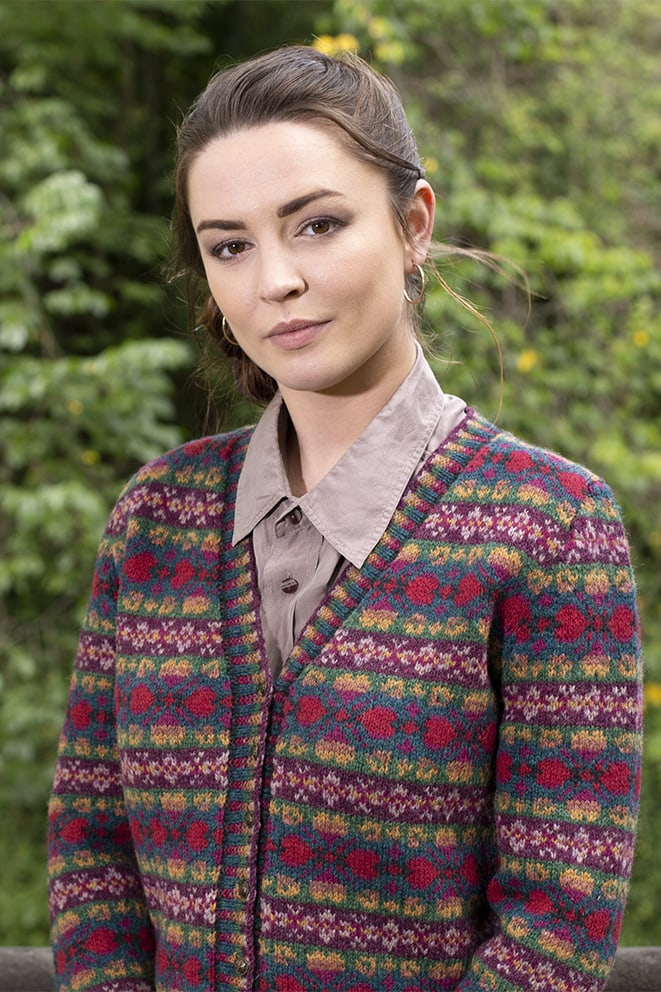 Maud Cardigan patterncard knitwear design by Alice Starmore in pure wool Hebridean 2 Ply hand knitting yarn