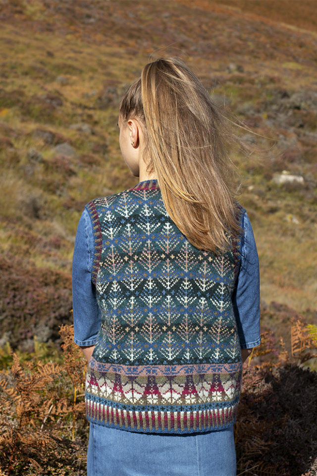 Oregon Vest patterncard knitwear design by Alice Starmore in pure wool Hebridean 2 Ply hand knitting yarn