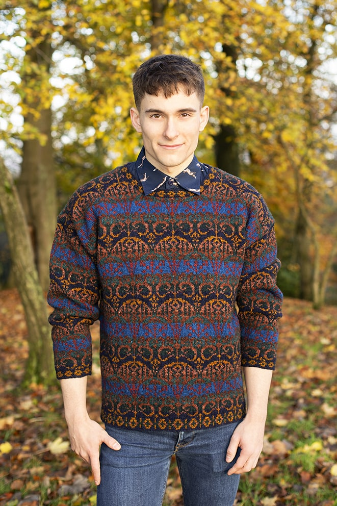 Glenesk patterncard knitwear design by Jade Starmore in pure wool Hebridean 2 Ply hand knitting yarn