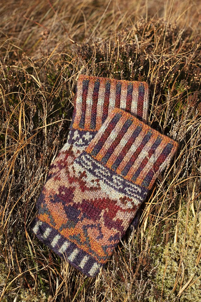 Hawk & Hound Hat Set patterncard knitwear design by Jade Starmore in pure wool Hebridean 2 & 3 Ply hand knitting yarn