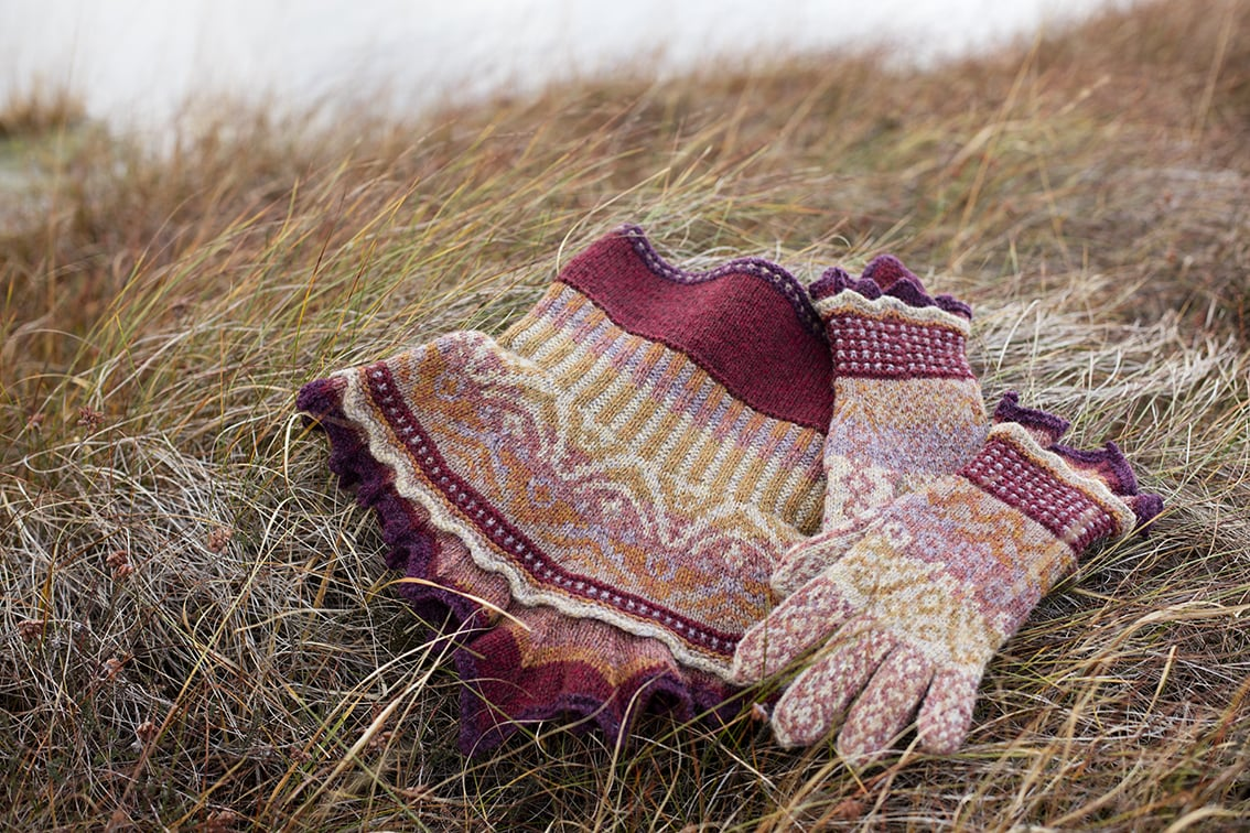 Herald Accessory Set patterncard knitwear design by Alice Starmore in pure wool Hebridean 2 & 3 Ply hand knitting yarn