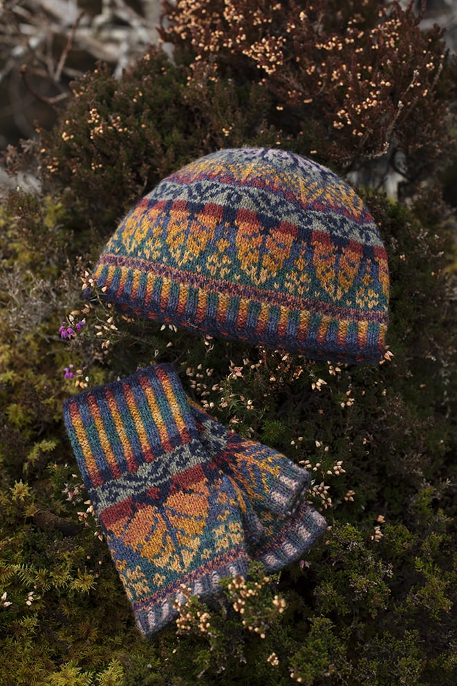 Oregon Autumn Hat Set patterncard knitwear design by Alice Starmore in pure wool Hebridean 2 Ply hand knitting yarn