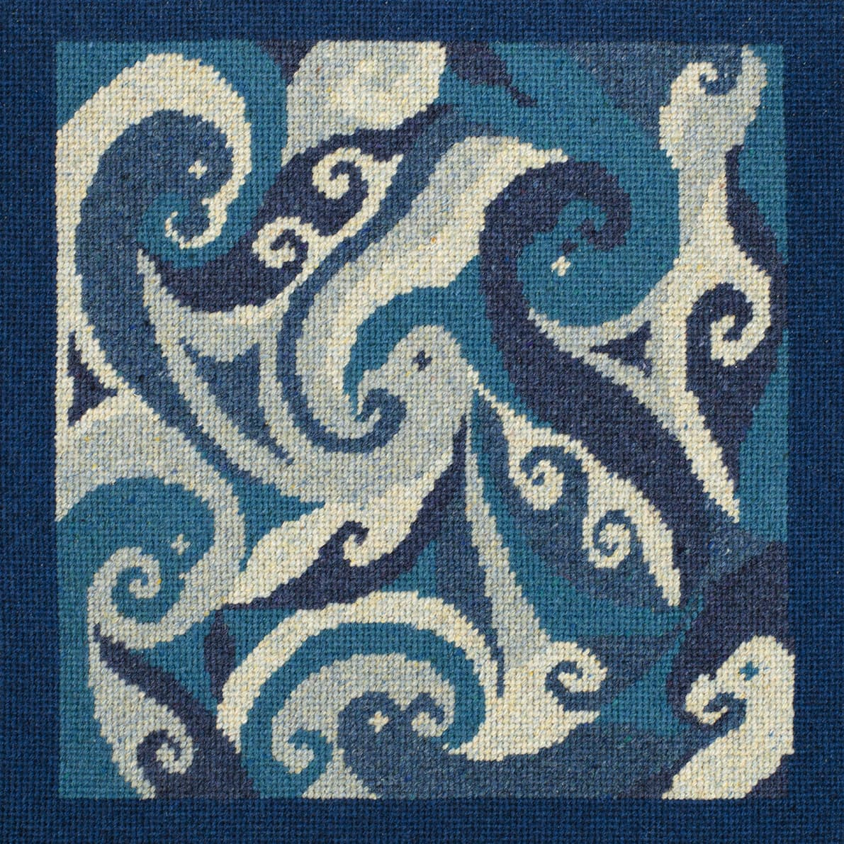Needlepoint design by Alice Starmore worked in Hebridean 2 Ply hand-knitting yarn