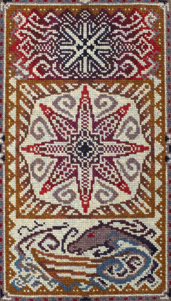 Needlepoint design by Jade Starmore worked in Hebridean 2 Ply hand-knitting yarn