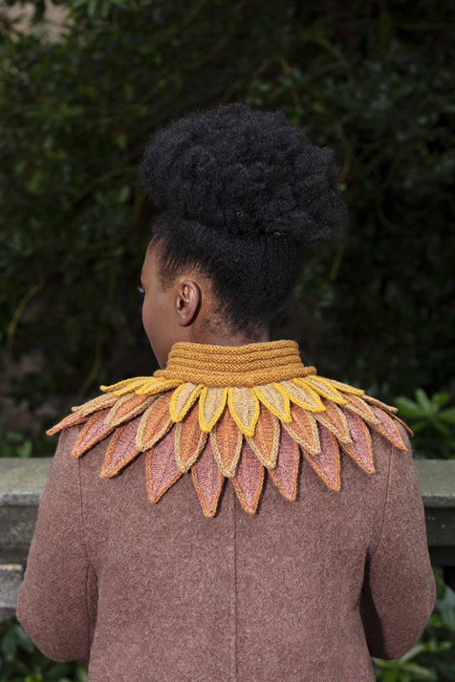 Raven Collar knitwear design from Glamourie by Alice Starmore in Hebridean 3 & 2 Ply hand knitting yarn