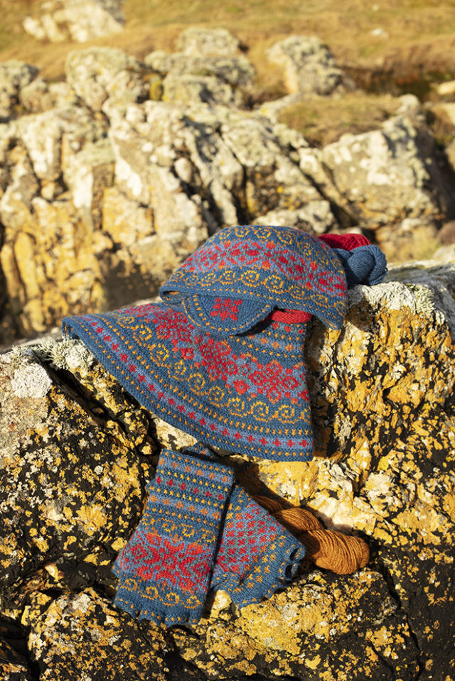 Capillifolium Hat Set patterncard knitwear design by Alice Starmore in pure wool Hebridean 2 Ply hand knitting yarn