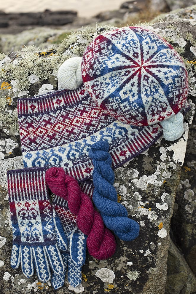 Diamond Jubilee patterncard knitwear design by Alice Starmore in pure wool Hebridean 2 Ply hand knitting yarn