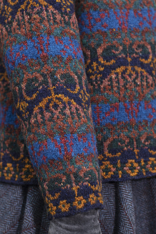 Glenesk cardigan patterncard knitwear design by Jade Starmore in pure wool Hebridean 2 Ply hand knitting yarn