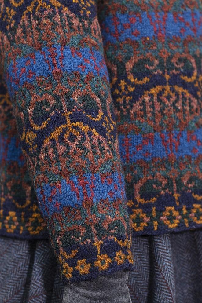 Glenesk cardigan patterncard knitwear design by Jade Starmore in pure wool Hebridean 2 Ply hand knitting yarn