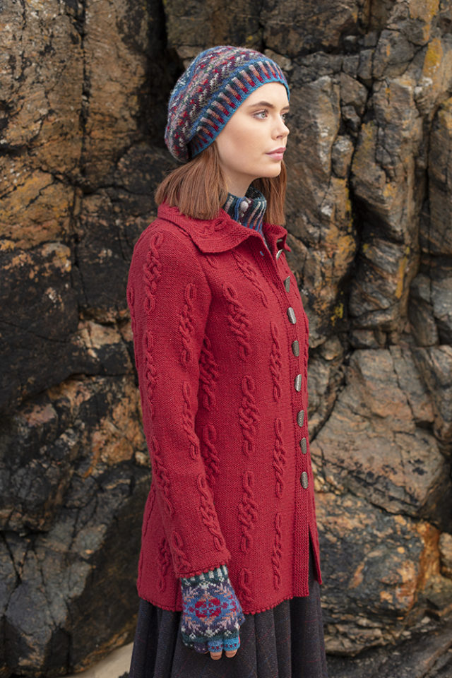 Graceknot cardigan and Marina hat set patterncard knitwear designs by Alice Starmore in pure wool Hebridean 2 & 3 Ply hand knitting yarn
