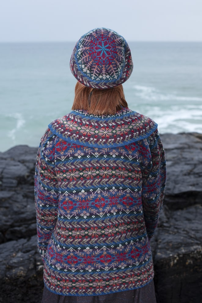 Marina Hat Set patterncard knitwear design by Alice Starmore in pure wool Hebridean 2 Ply hand knitting yarn