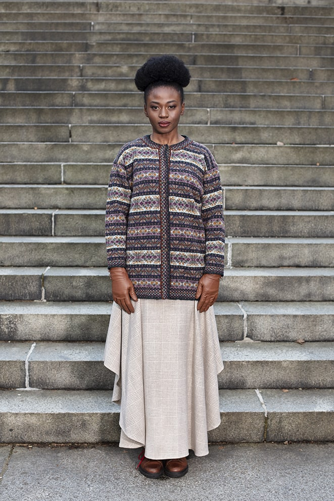 Rona patterncard knitwear design by Alice Starmore in pure wool Hebridean 2 Ply hand knitting yarn