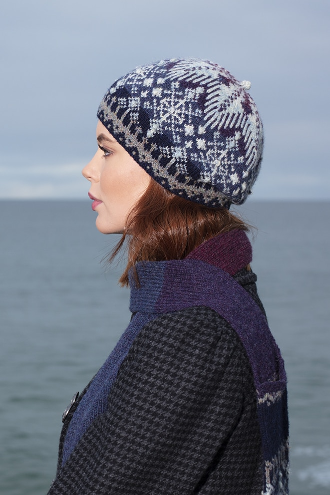 St Agnes Eve Hat Set patterncard knitwear design by Alice Starmore in pure wool Hebridean 2 Ply hand knitting yarn