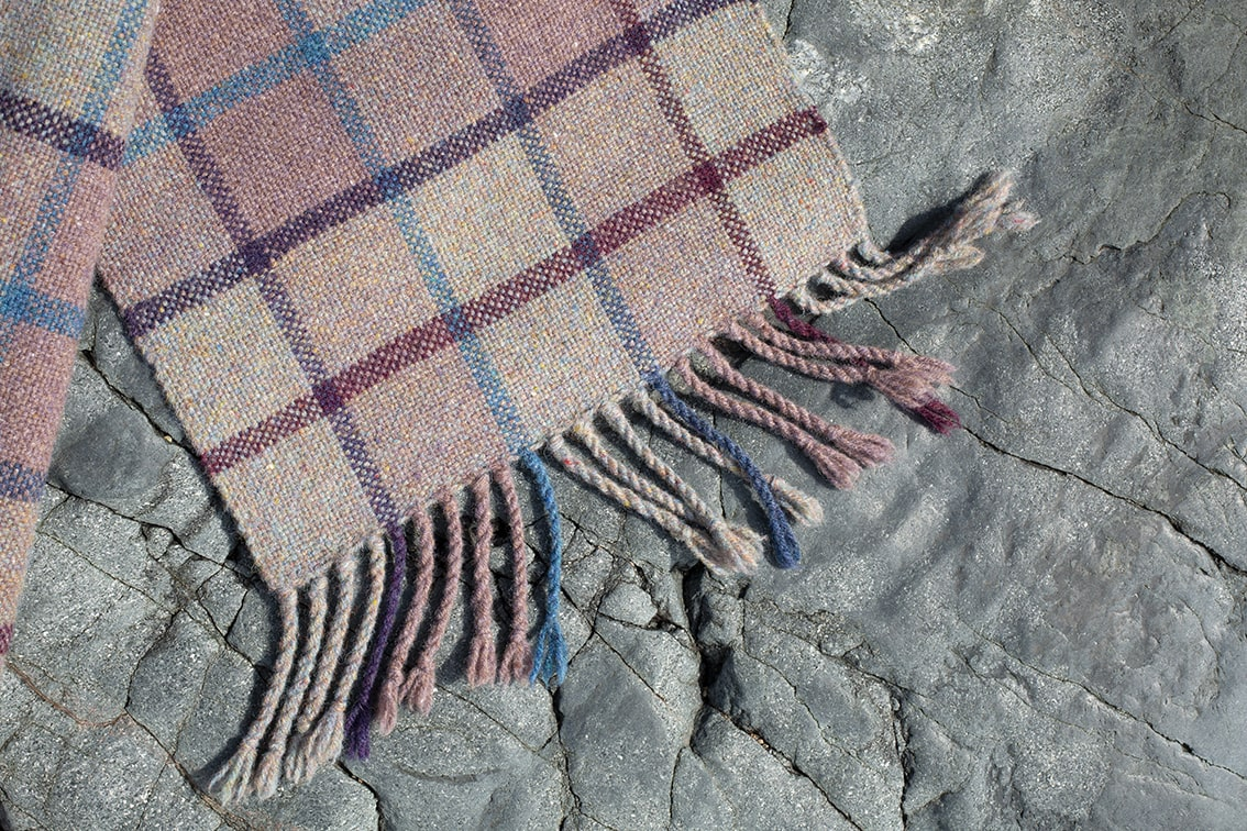Woven scarf in Alice Starmore pure wool Hebridean Yarn