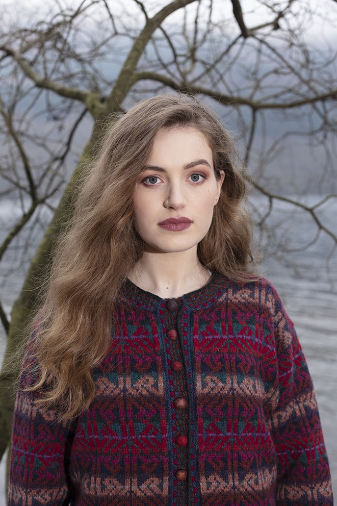 Alba Jacket patterncard knitwear design by Alice Starmore in pure wool Hebridean 2 Ply hand knitting yarn