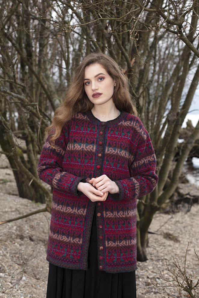 Alba Jacket patterncard knitwear design by Alice Starmore in pure wool Hebridean 2 Ply hand knitting yarn