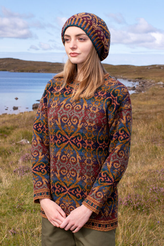 Henry VIII patterncard kit design by Alice Starmore in Hebridean 2 Ply yarn
