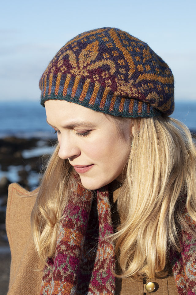 Mary Tudor Hat Set patterncard knitwear design by Alice Starmore in pure wool Hebridean 2 Ply hand knitting yarn