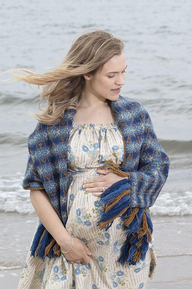 Primavera Wrap patterncard knitwear design by Jade Starmore in pure wool Hebridean 2 Ply hand knitting yarn