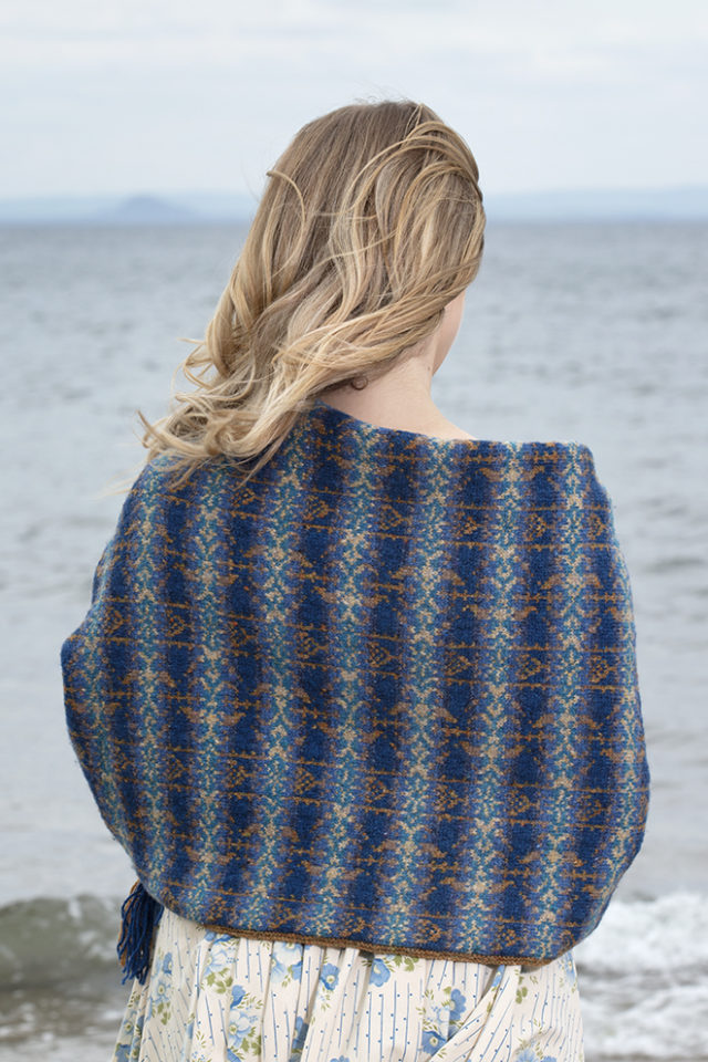 Primavera Wrap patterncard knitwear design by Jade Starmore in pure wool Hebridean 2 Ply hand knitting yarn