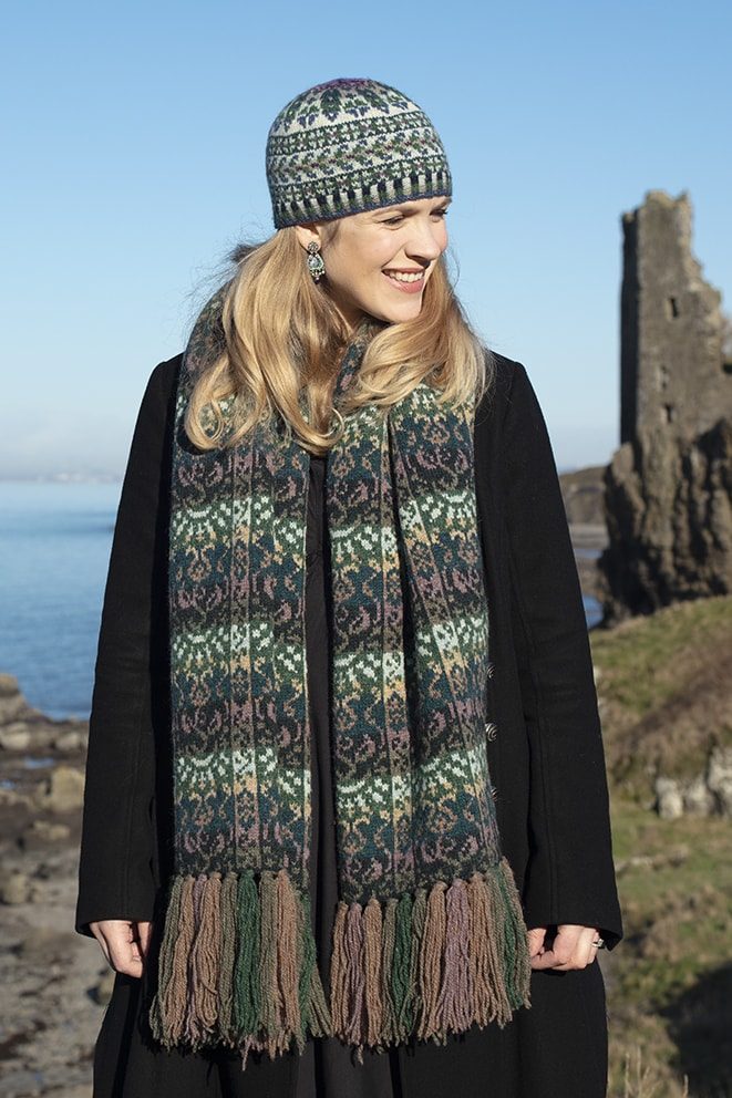 Rheingold Wrap patterncard knitwear design by Jade Starmore in pure wool Hebridean 2 Ply hand knitting yarn