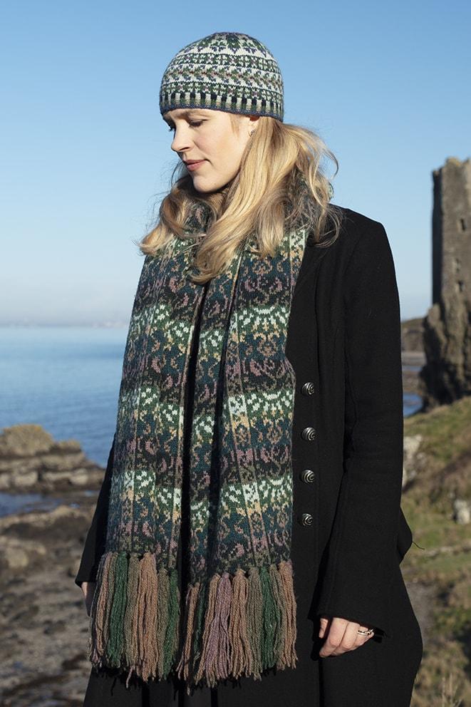 Rheingold Wrap patterncard knitwear design by Jade Starmore in pure wool Hebridean 2 Ply hand knitting yarn