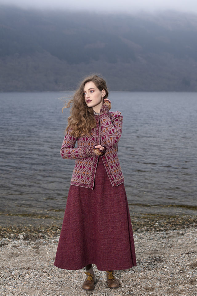 Rosemarkie Cardigan patterncard knitwear design by Alice Starmore in pure wool Hebridean 2 Ply hand knitting yarn