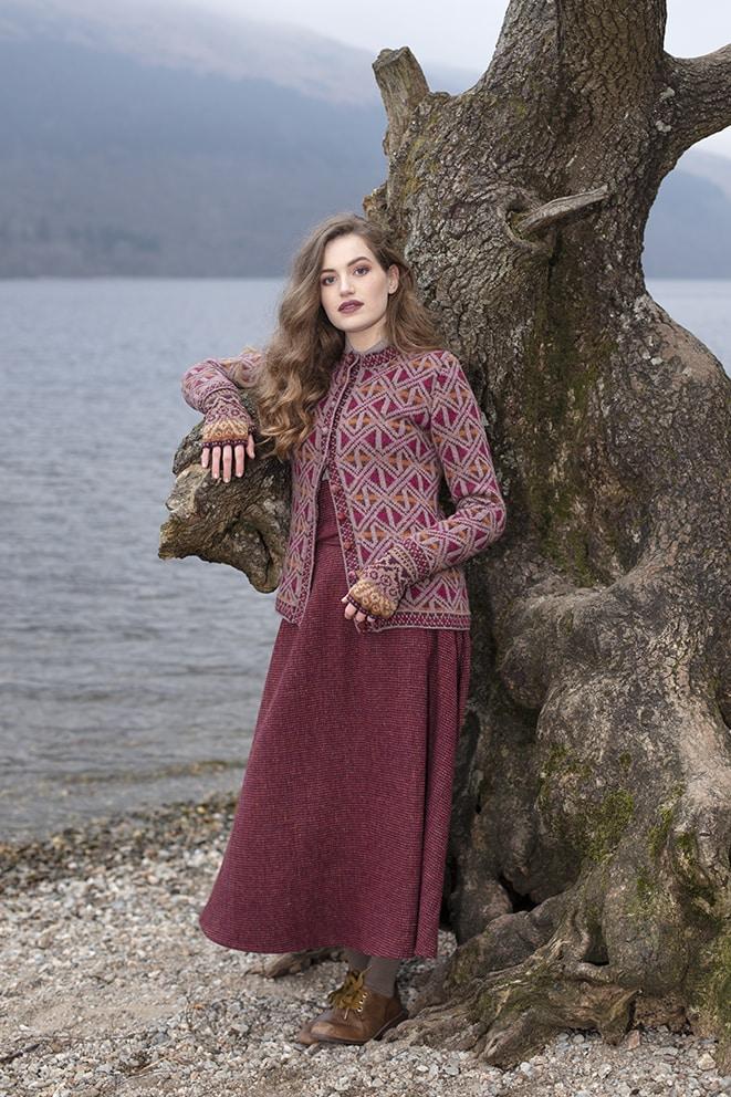 Rosemarkie Cardigan patterncard knitwear design by Alice Starmore in pure wool Hebridean 2 Ply hand knitting yarn