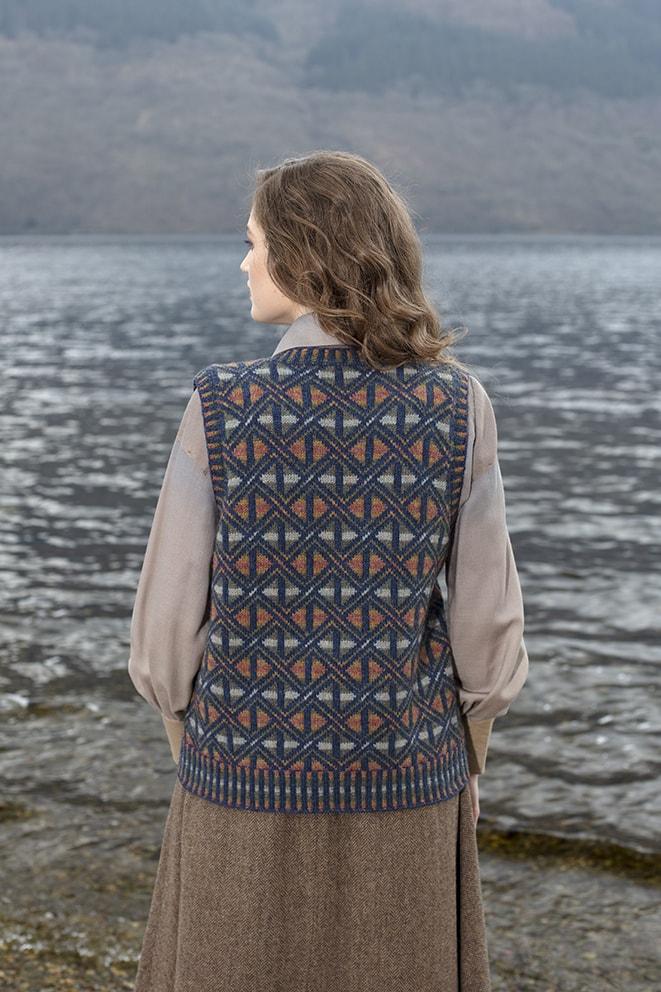 Rosemarkie Waistcoat patterncard knitwear design by Alice Starmore in pure wool Hebridean 2 Ply hand knitting yarn
