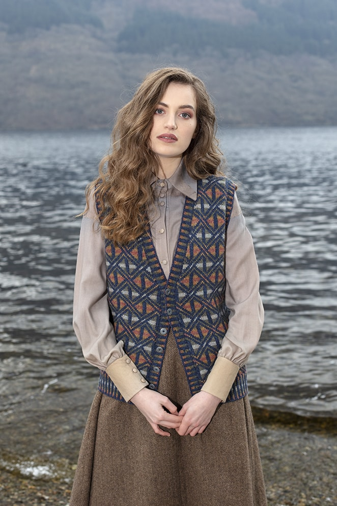Rosemarkie Waistcoat patterncard knitwear design by Alice Starmore in pure wool Hebridean 2 Ply hand knitting yarn