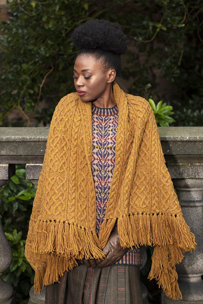 St Ciaran Wrap hand knitwear design from the book Aran Knitting by Alice Starmore